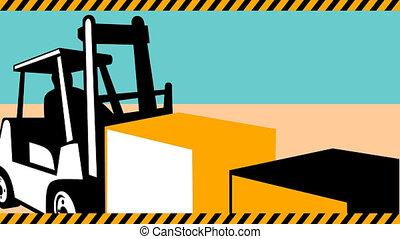forklift truck materials handling - 2d video footage...
