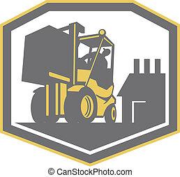 Forklift Truck Materials Handling Logistics Retro