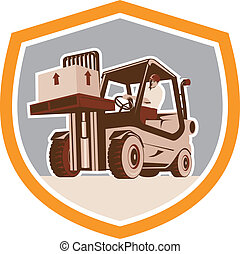 Illustration of a forklift truck and driver at work lifting handling box crate done in retro style inside shield crest shape.