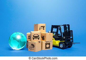 Forklift truck near cardboard boxes and blue globe. Transportation logistics infrastructure, import export of goods. Freight shipping. Globalization of production, sales of products on world markets.