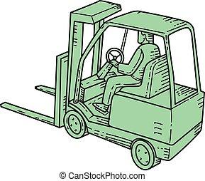Forklift Truck Operator Mono Line