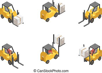 Forklift Truck Set - Yellow forklift truck with box set...
