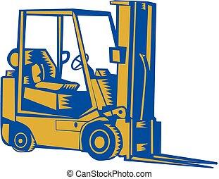 Forklift Truck Side Woodcut
