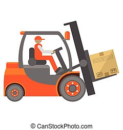 Forklift truck sign in flat isolated on white