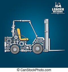 Forklift truck silhouette, composed of details