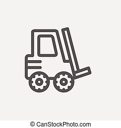 Forklift truck thin line icon - Forklift truck icon thin...