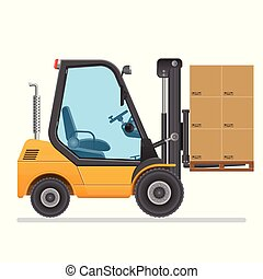 Forklift truck. Vector illustration isolated on white background.