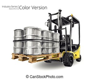 Forklift truck. - Vector illustration of Forklift truck with...