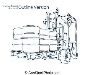 Forklift truck. - Vector illustration of Forklift truck with...