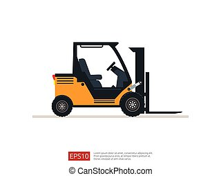 Forklift truck vector illustration. warehouse fork loader icon template. delivery truck symbol for supply storage service, logistic company, freight load, cargo, shipping, transportation.