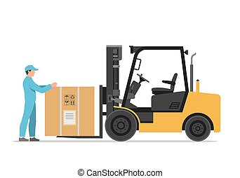 forklift truck with box