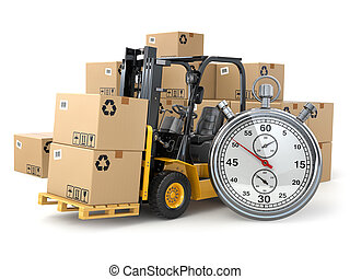 Forklift truck with  boxes and stopwatch .Express delivery conce