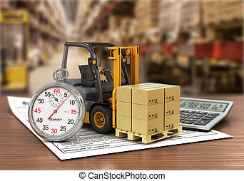 Forklift truck with boxes and stopwatch on the storage. Express delivery concept.