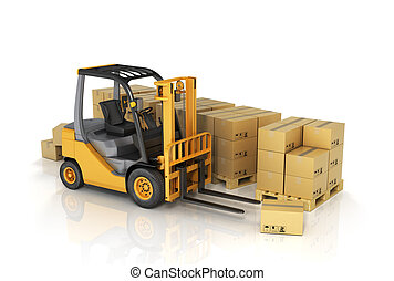 Forklift truck with boxes. Cargo.