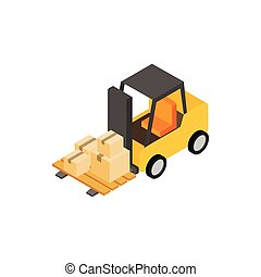 Forklift truck with boxes icon, isometric 3d style