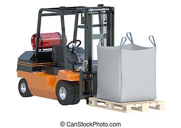 Forklift truck with bulk bag - Forklift truck with big bag...