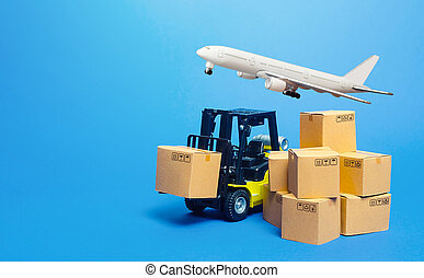 Forklift truck with cardboard boxes and freight plane. Transportation logistics infrastructure, import export goods, products delivery. Production, transport cargo. Air transportation shipping.