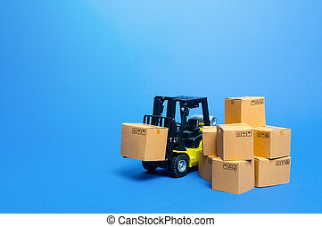 Forklift truck with cardboard boxes. Transportation logistics infrastructure, import and export goods and products delivery. Production, transport, cargo storage. Freight shipping. retail