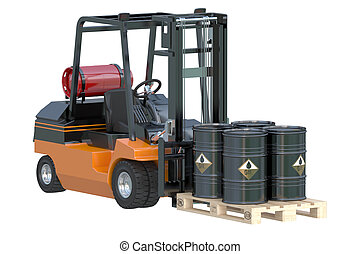 Forklift truck with oil barrels