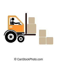 forklift truck with pictogram driver and boxes