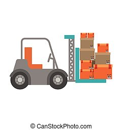 forklift truck with sealed packages
