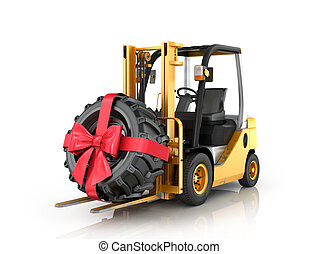 Forklift truck with wheel, ribbon and bow on a white background.