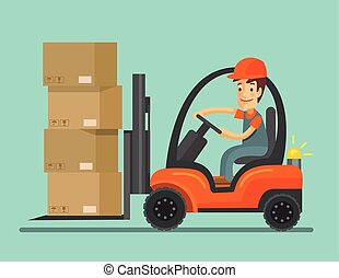 Forklift truck with worker. Vector flat illustration