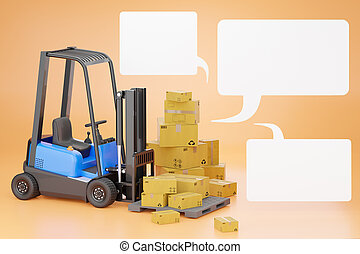 Forklift trucks with a cardboard box on a pallet and blank text box.