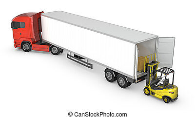 Forklift unloads or loads white blank semi-trailer isolated...