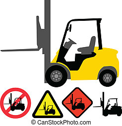 Forklift illustration and signs - vector