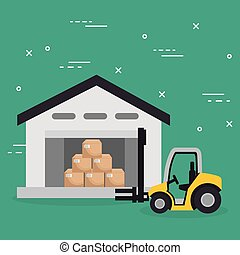 forklift vehicle with boxes logistic services