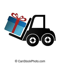 forklift vehicle with gift isolated icon