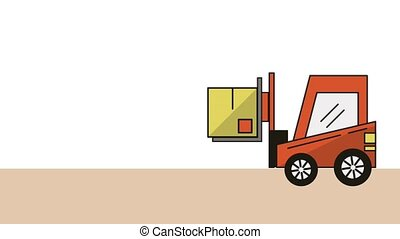forklift with box delivery service animation