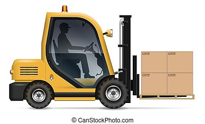 Forklift with carton boxes on the pallet vector illustration