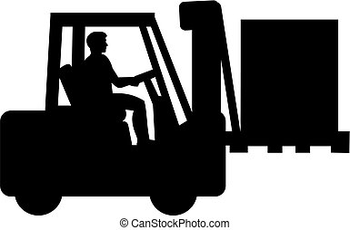 Forklift with driver silhouette