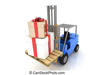Forklift with gifts boxes is isolated on a white background