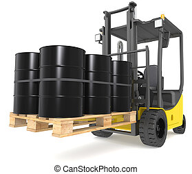 Forklift with Oil Drums.