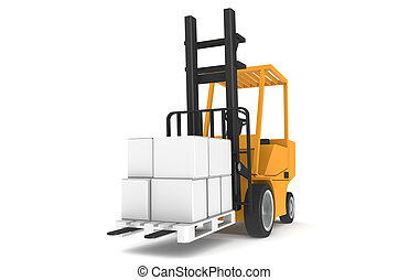 Forklift with Pallet, Front view. Part of a Warehouse series...