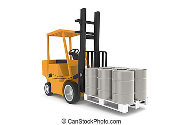 Forklift with Pallet, Front view. Part of a Warehouse...