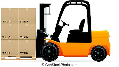 Forklift with pasteboard boxes on a white background.