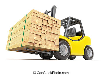 Forklift with stacked lumber - 3D illustration