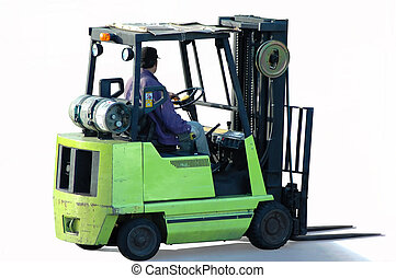 Forklift with the operator