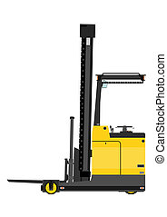 Forklift - Yellow forklift (reach truck) on a white...