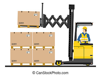 Yellow forklift (reach truck) on a white background. Vector