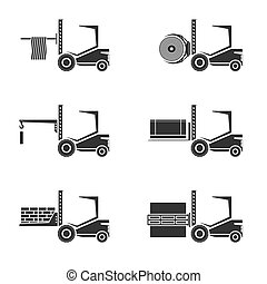 Forklifts. Icons set . Isolated on white. Vector...