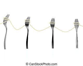 forks and spaghetti as electricity pylons