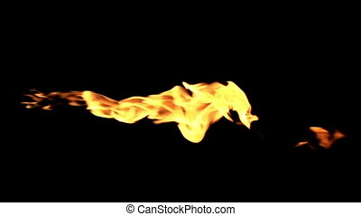 Forks of Flame on a Black Backgroun - Short Flash flames on...