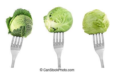 forks with vegetables