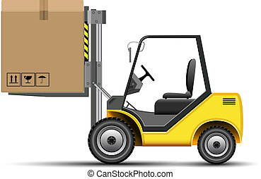 Forlift with Box - Yellow vector forklift icons with box. ...