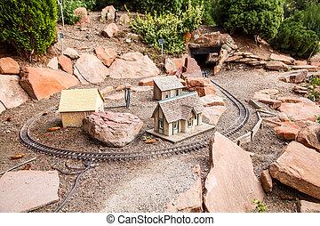 formál, játékszer, vasút, falu